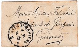 Lettre + Carte Saint-Christoly De Blaye Madame Gironde Faureau Institutrice Cachet Convoyeur Blaye à Saint Mariens - Frankrijk