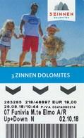 Italien 2018 Sexten 3 Zinnen Dolomites Kabinenbahn Eintrittskarte / Fahrkarte - Italien
