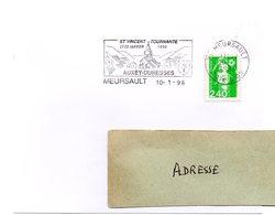 VIGNE & VIN = 21 MEURSAULT 1996 = FLAMME Type II = SECAP Illustrée  ' Saint Vincent Tournante 1996 / AUXEY DURESSES ' - Oblitérations Mécaniques (flammes)
