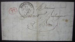 1833 Marseille Réponse Du Service Général Des Douanes (cachet à L'arrière)  Demande D'un Boulanger De Berre (dette) - Postmark Collection (Covers)