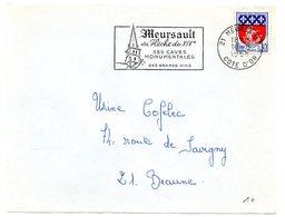 VIGNE & VIN = 21 MEURSAULT 1968 = FLAMME Codée = SECAP Illustrée  ' FLECHE / CAVES MONUMENTALES ' - Postmark Collection (Covers)