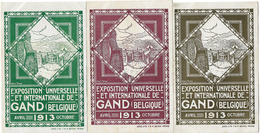 BELGIQUE GAND EXPOSITION UNIVERSELLE 1913 3 CPA COULEURS DIFFERENTES - Gent