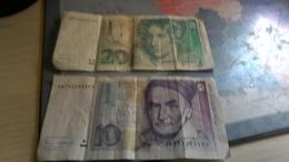 2 Billets 10 Et 20 Marcos 1989-1991 - [ 7] 1949-… : RFA - Rép. Féd. D'Allemagne