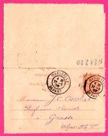 Carte Lettre 15 C Mouchon - Entier Postal - Oblit. Marseille Départ ( 13 ) Vers Grasse ( 06 ) - Pour Ossola - 1902 - Entiers Postaux