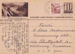 SUISSE 1947 ENTIER POSTAL CARTE ILLUSTREE CENSUREE DE BALE POUR STUTTGART - Interi Postali