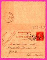Carte Lettre 10 C Semeuse - Entier Postal - Oblit. Colomars ( 06 ) Vers Grasse - Sallagriffon - Ossola Conseiller - 1914 - Biglietto Postale