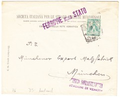 Um 1910 Brief Der Ferrovie Dello Stato  An Die Münchner Malzfabrik; Gebrauchsspuren - 1900-44 Victor Emmanuel III.