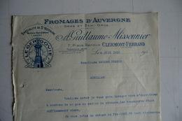 (018) FACTURES DOCUMENTS COMMERCIAUX. 63 PUY DE DOME CLERMONT. LE GERGOVIE. GUILLAUME MISSONIER. Saint Nectaire.1933. - Alimentaire