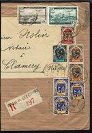 ALGERIE - 1949 - Affranchissement Varié P. A + Poste à 70 Fr Sur Enveloppe Recommandée De Oran Pour Clamecy (FR) B/TB - - Algérie (1924-1962)