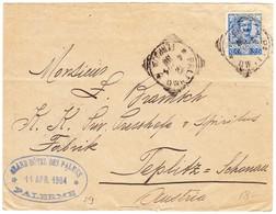1904 Brief Mit Bahnstempel Palermo Nach Teblitz; Nebenstempel Des Grandhotel Des Palmes, Palermo; Gebrauchsspuren - 1900-44 Victor Emmanuel III.