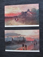 LOT De 2 Cpa - Soir D' Hiver Dans La Lande  &  Coucher De Soleil Dans La Lande - Serie 355 Raphael TUCK - Tuck, Raphael