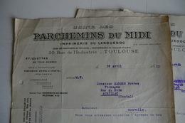 (023) FACTURES DOCUMENTS COMMERCIAUX. 31 HAUTE GARONNE TOULOUSE. PARCHEMINS DU MIDI. Languedoc. 4 Pages. 1933. - Imprimerie & Papeterie
