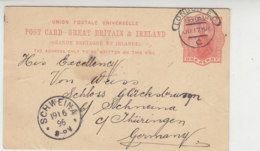 (Privat?) Ganzsache Aus LONDON 17.6.96 Nach Schweina / Thüringen - 1840-1901 (Victoria)