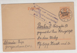 OBER-OST Ganzsache Aus RIGA 4.12.17 Nach Berlin / Zensur - Occupation 1914-18