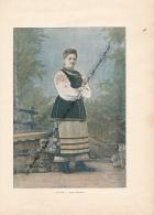Document (1880) : Russie, Petite Russienne, Femme, Costume, Photographie Aquarellée (Aquarelle), Souvenir De Voyage - Russia