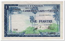 FRENCH INDO-CHINA,1 PIASTRE,1954,P.105,XF,SMALL TEAR - Indochina