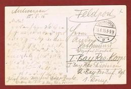 Zichtkaart Antwerpen Met Veldpoststempel 15/8/1915;  2 Scan - WW I