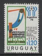 TIMBRE NEUF D'URUGUAY - L'URUGUAY VAINQUEUR DE LA COUPE DU MONDE DE FOOTBALL 1930 N° MICHEL BF 33 - Fußball-Weltmeisterschaft