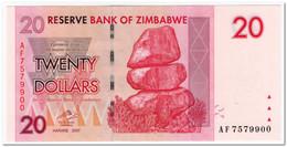 ZIMBABWE,20 DOLLARS,2007,P.68,UNC - Simbabwe