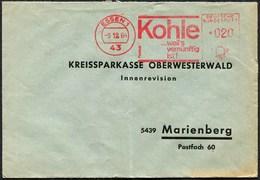 """(1802) Freistempel Aus 43 ESSEN 1 Vom 9.12.1964 """"KOHLE ... Weil's Vernünftig Ist!"""" - Umweltschutz Und Klima"""