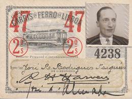 Portugal - Carris De Ferro De Lisboa Passe Semestral 1947 - Tramways