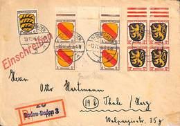 Einschreiben Recommandé Zone Française Baden-Baden 1946 - Zona Francese