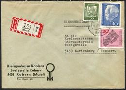 (1804) R-Brief Aus KOBERN (Mosel) Mit AKZ 19 B, Vom 19.10.1964, Lübke, Dürer, Benedikterabtei - Briefe U. Dokumente