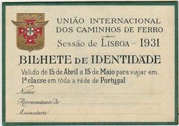 Portugal -CP  -Passe De Livre Circulação 1931 - - Railway
