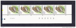 BUZIN COB 2533 GOMME VERTE ** MNH. BANDE DE 5 DATEE 17.III.95. (4R206) - 1985-.. Birds (Buzin)