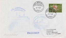 Russia 1987 Ship MS Estonia Ca Nordkapp 31.7.87 Cover (40805) - Poolshepen & Ijsbrekers