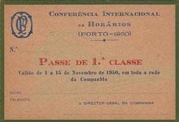 Portugal - CP  -Passe De Livre Circulação 1950 - Railway
