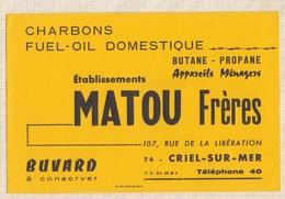 8/43 BUVARD MATOU FRERES 76 CRIEL SUR MER CHARBONS FUEL  BUTANE .... - Electricity & Gas