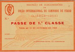 Portugal - CP  -Passe De Livre Circulação 1959 - - Railway