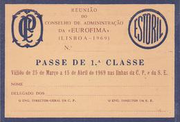 Portugal - CP  -Passe De Livre Circulação 1969 - EUROFIMA - Railway