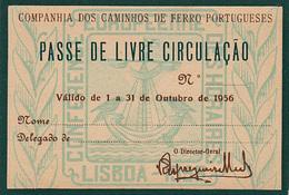 Portugal - CP  -Passe De Livre Circulação 1956 - Railway