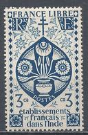 French India 1942. Scott #144 (M) Lotus Flowers * - India (1892-1954)