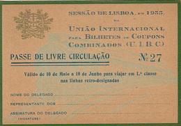 Portugal - CP  -Passe De Livre Circulação 1955 - Railway