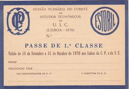 Portugal - CP  -Passe De Livre Circulação 1970 - Railway
