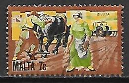 MALTE    -   1981 .   Y&T N° 630 Oblitéré .    Agriculture  /  Cheval De Labour  /  Semailles - Malta