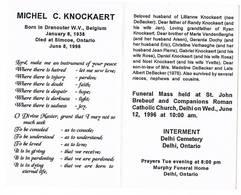 Dranouter, Simcoe (Can): 1938 - 1996, Michel C.Knockaert = Naar Canada Uitgeweken Belg. (2 Scans) - Devotieprenten