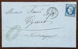 YT N°14A Sur Lettre - Napoléon III - Cachet à Date Type 15 - 1855 - TOULOUSE / AGEN / BERGERAC - 1853-1860 Napoleon III
