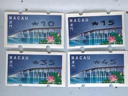 MACAU ATM LABELS, 1999 LOTUS FLOWER BRIDGE ISSUE - NAGLER PRINT SET OF 4 - Verzamelingen & Reeksen
