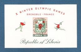 LIBERIA -1967- BF NUOVO SENZA GOMMA DA 50 C. - NON DENTELLATO - GIOCHI OLIMPICI INVERN. DI GRENOBLE - IN BUONE CONDIZ.. - Inverno1968: Grenoble