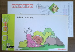 """Cartoon Snail,China 2006 Henan New Year Greeting """"Very Slow But Never Back Off"""" Advertising Postal Stationery Card - Stamps"""