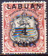 NORTH BORNEO LABUAN 1904 SG #130 4c On 6c CTO Used CV £14 Small Thin (hardly Visible) On Back - North Borneo (...-1963)