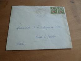 Lettre France Paire 50c Sur 75c Iris Vert N° 480 Cachet Hexagonal Fresnay Sur Sarthe CP N°3 10/04/1941 - Marcophilie (Lettres)