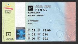 Espagne Jeux Olympiques Barcelone 92 Billet Finale Athletiisme Barcelona 1992 Athletics Final Ticket - Apparel, Souvenirs & Other