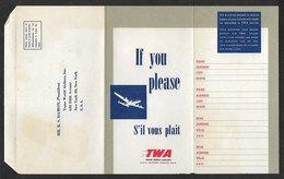 TWA Avion Lettre Pour Commentaires Et Suggestions Des Passagers  Airline Cover For Passengers Comments And Suggestions - Papiere