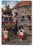 CPSM 67 (grand Format) BARR Place Hotel De Ville (fontaine église) Enfants Avec Costumes FOLK - Barr