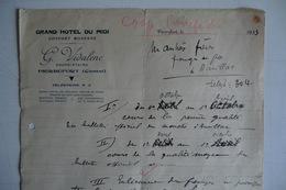 (024) FACTURES DOCUMENTS COMMERCIAUX. 15 CANTAL PIERREFORT. GRAND HOTEL DU MIDI. G.VIDALENC. 1933. - France